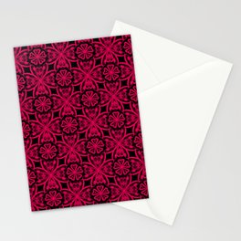 Red Lace on black . Stationery Cards