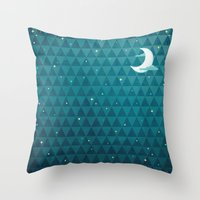 night sky Throw Pillows featuring Night Sky by littleclyde