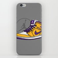 lakers iPhone & iPod Skins featuring Jordan 1 mid (LA Lakers) by Pancho the Macho