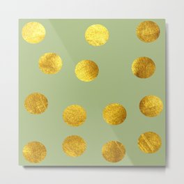 Gold polka dots green Metal Print