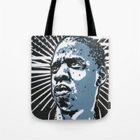 jay z Tote Bags featuring Jay-Z by Hans Poppe