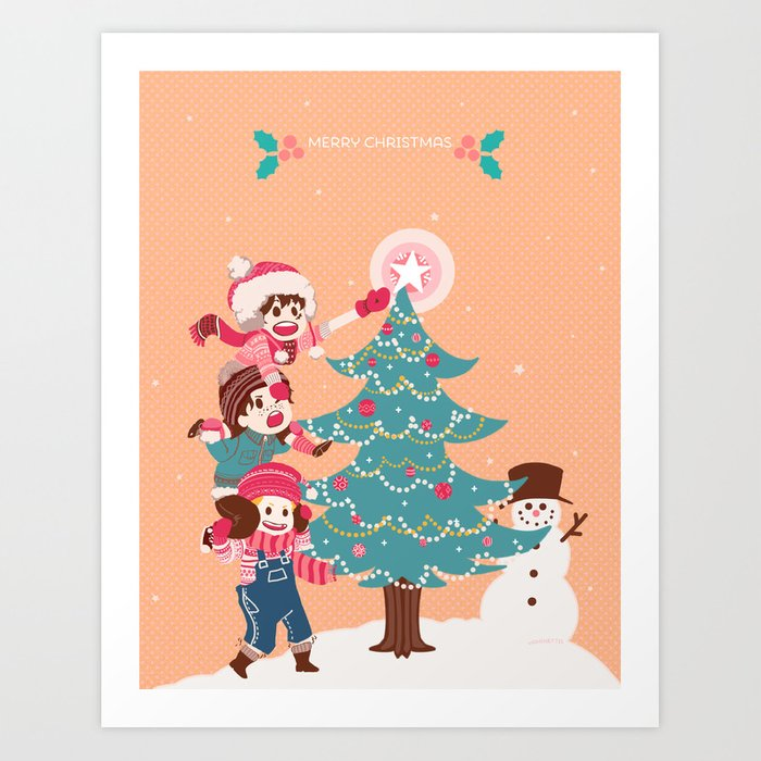asl christmas art print by yamineftis society6 - Asl Christmas