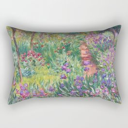 The Iris Garden at Giverny by Claude Monet Rectangular Pillow