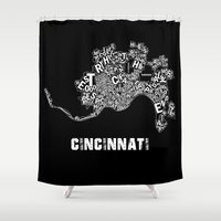 cincinnati Shower Curtains featuring Cincinnati by Ricky Riccardo