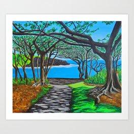 Maui black sand beach Art Print