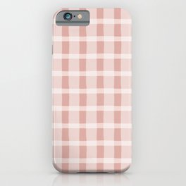 Pink and White Jagged Edge Plaid iPhone Case