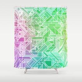 Bright Gradient (Violet Purple Lime Green Neon Yellow) Geometric Pattern Print Shower Curtain