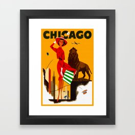 Vintage Chicago Illinois Travel Framed Art Print