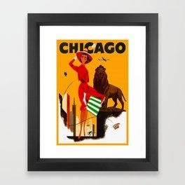Vintage Chicago Illinois Travel Framed Art Print
