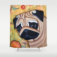 pug Shower Curtains featuring Pug  by Two Dancing Crows