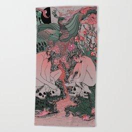 Two Sisters I: Peacock & Melon Beach Towel