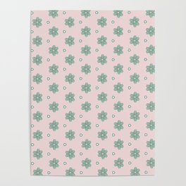 Sage Green and Pink Flower Abstract Pattern Poster