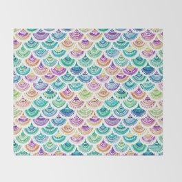 RAINBOW MERMACITA Colorful Mermaid Scales Throw Blanket