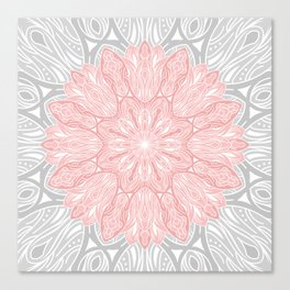 MANDALA IN GREY AND PINK Canvas Print