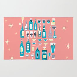 Cocktails And Drinks In Aquas and Pinks Rug