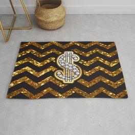 Black & Gold Chevron Diamond & Gold Dollar Sign Rug
