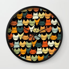Jelly Cats Hand Drawn Vintage Dark Wall Clock