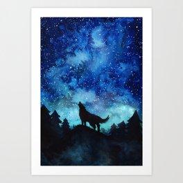 Wolf Galaxy Art Print