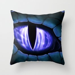 Blue Dragon Eye Fantasy Painting Colorful Digital Illustration Throw Pillow