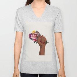 Girl Power with flowers Unisex V-Neck