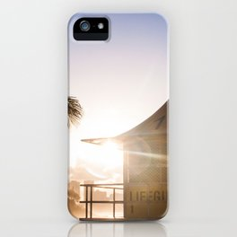 Sunset at the lifeguard tower iPhone Case
