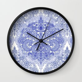 Happy Place Doodle in Cornflower Blue, White & Grey Wall Clock