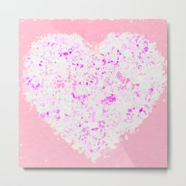white and pink heart shape with pink background Metal Print