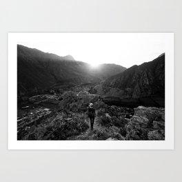Towards the Sunset, Towards the Mountain Art Print