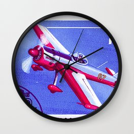 Postage stamp printed in Soviet Union shows vintage airplane Wall Clock