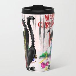 Evil Black Cat VS Christmas Tree Travel Mug