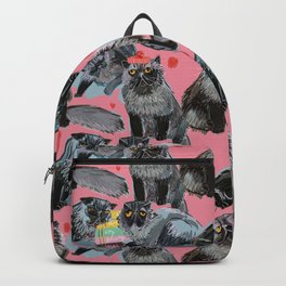 Freddy- Cat pattern in Pink Rose Backpack