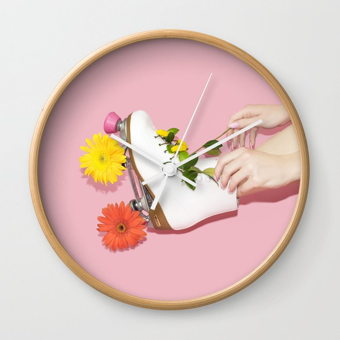 Spring Roll Wall Clock By Lizziedarden Society6