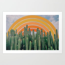 Cactus and Rainbow Art Print