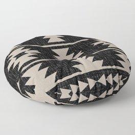 Southwestern Pattern 129 Black and Linen Floor Pillow