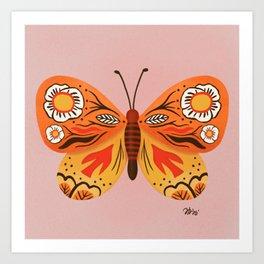 Dreamy patterned butterfly  Art Print