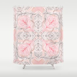 Peaches and Cream Doodle Tile Pattern Shower Curtain