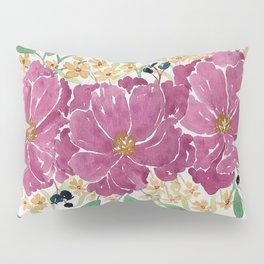 """Japanese Maple & Blueberry"" loose floral bouquet watercolor illustration Pillow Sham"