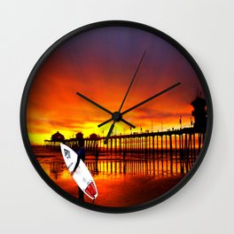 Surfer's Sunset * Huntington Beach, California Wall Clock