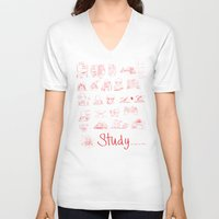 study V-neck T-shirts featuring Study... by David Nuh Omar