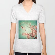 Pink Autumn Leafs on Blue Textured Sky (Vintage Nature Photography) Unisex V-Neck