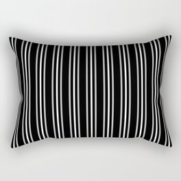 Silver and White Three Stripes Pattern on Black | Vertical Stripes | Rectangular Pillow