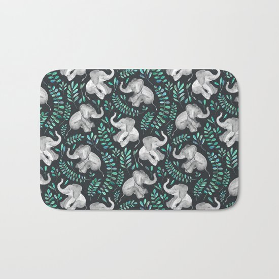 Laughing Baby Elephants – emerald and turquoise Bath Mat