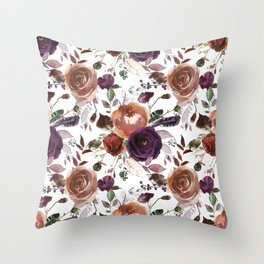 Hand painted brown violet pink watercolor roses floral Throw Pillow