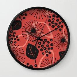 Fiery Peach Botanical Wall Clock