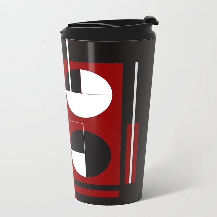 Geometric/Red-White-Black  1 Metal Travel Mug