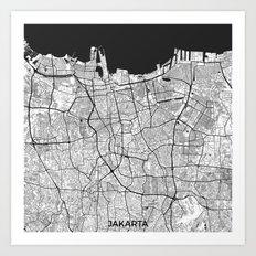 Jakarta Map Gray Art Print