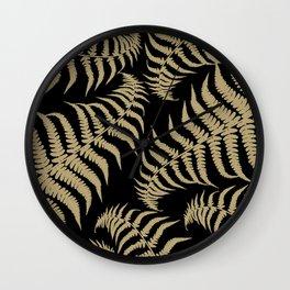 Fern Leaves Pattern - Golden Dream #1 #ornamental #decor #art #society6 Wall Clock
