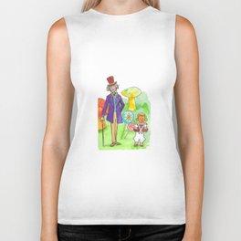 Pure Imagination: Willy Wonka & Oompa Loompa by Michael Richey White Biker Tank