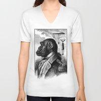 ape V-neck T-shirts featuring APE COMMANDER by DIVIDUS