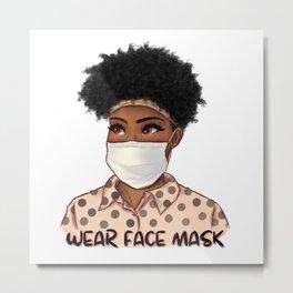 Please Wear Face Mask Metal Print